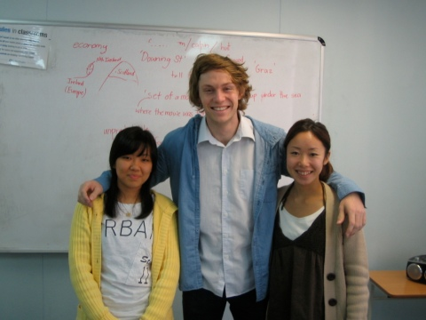 Jackson, with students Sung Hee and Naoko