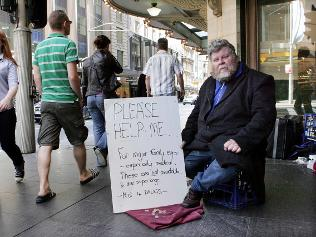 Homeless man Ken Johnson, who earns up to $400 a day